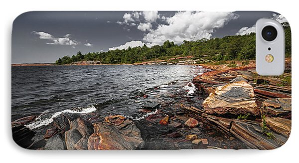 Rocky Shore Of Georgian Bay I IPhone Case by Elena Elisseeva