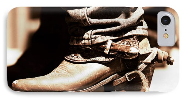 IPhone Case featuring the photograph Rodeo Boot And Spur In Copper Tint by Lincoln Rogers