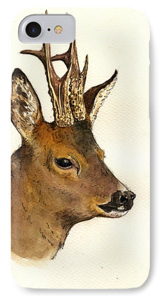 Roe Deer Head Study IPhone Case by Juan  Bosco