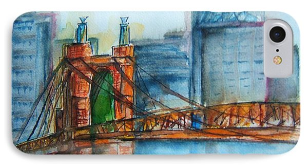 Roebling Bridge Near Dusk Phone Case by Elaine Duras