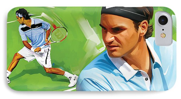 Roger Federer Artwork IPhone Case by Sheraz A