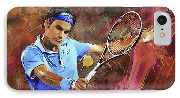 Roger Federer Backhand Art IPhone Case by RochVanh