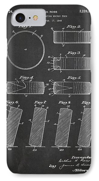 Roll Prevention Hockey Puck Patent Drawing From 1940 IPhone Case by Aged Pixel