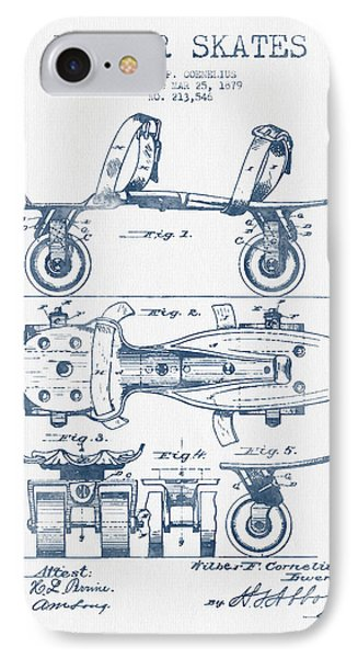Roller Skate Patent Drawing From 1879  - Blue Ink IPhone Case