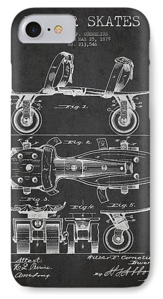Roller Skate Patent Drawing From 1879 - Dark IPhone Case