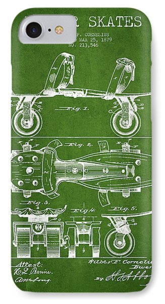 Roller Skate Patent Drawing From 1879 - Green IPhone Case