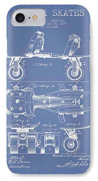 Roller Skate Patent Drawing From 1879 - Light Blue IPhone Case