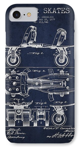 Roller Skate Patent Drawing From 1879 - Navy Blue IPhone Case