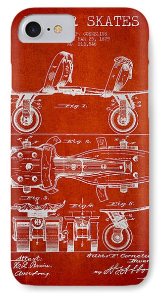 Roller Skate Patent Drawing From 1879 - Red IPhone Case