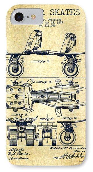 Roller Skate Patent Drawing From 1879 - Vintage IPhone Case