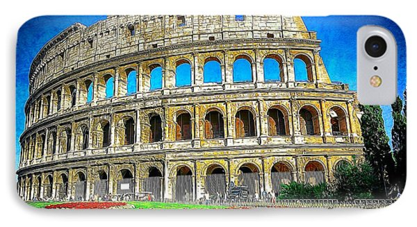 Roman Coliseum Cityscape IPhone Case by Stefano Senise