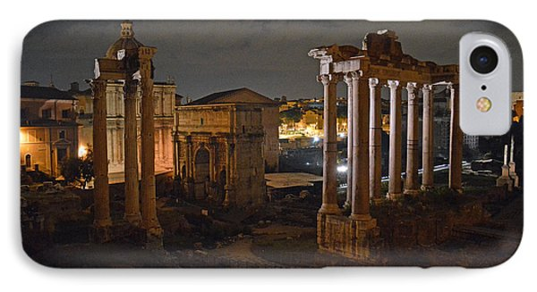 IPhone Case featuring the photograph Roman Forum At Night 2 by Nancy Bradley