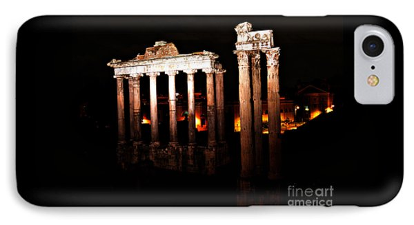 IPhone Case featuring the photograph Roman Forum At Night by Nancy Bradley