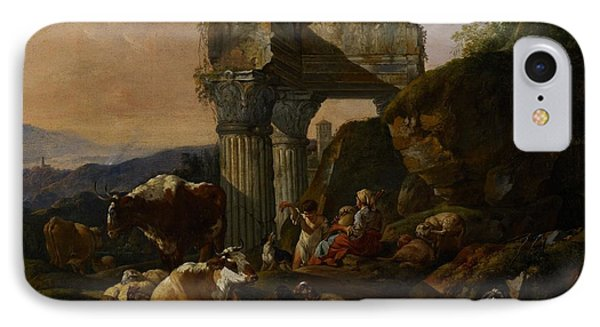 Roman Landscape With Cattle And Shepherds Phone Case by Johann Heinrich Roos