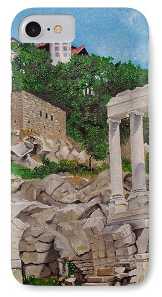 IPhone Case featuring the painting Roman Stadium In Plovdiv by Nina Mitkova