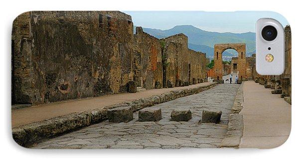 Roman Street In Pompeii IPhone Case by Alan Toepfer