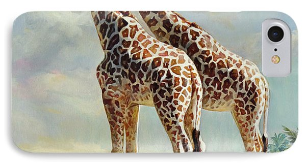 Romance In Africa - Love Among Giraffes IPhone Case by Svitozar Nenyuk