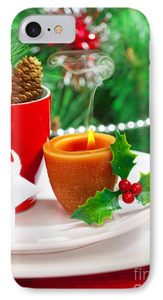 Romantic Christmastime Dinner Phone Case by Anna Om