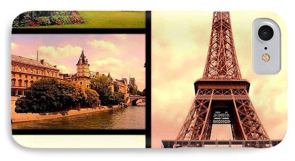 Romantic Paris Sunset Collage Phone Case by Carol Groenen