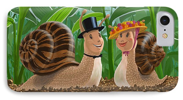 Romantic Snails On A Date Phone Case by Martin Davey