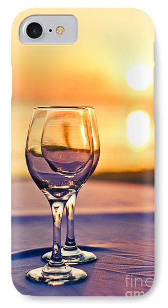 Romantic Sunset Drink With Wine Glass Phone Case by Tuimages