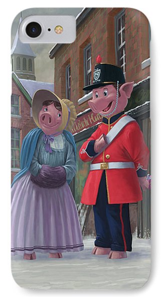 Romantic Victorian Pigs In Snowy Street IPhone Case by Martin Davey