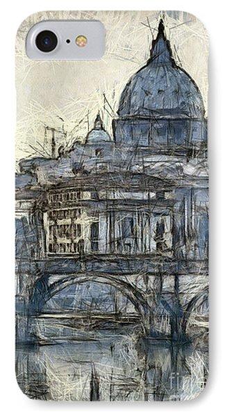 Rome Saint Peters Basilica Sketch IPhone Case