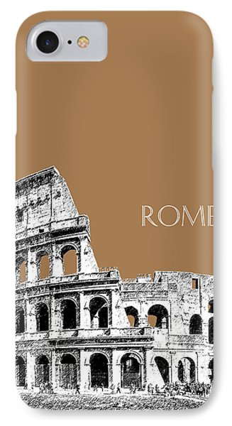 Rome Skyline The Coliseum - Brown IPhone Case by DB Artist