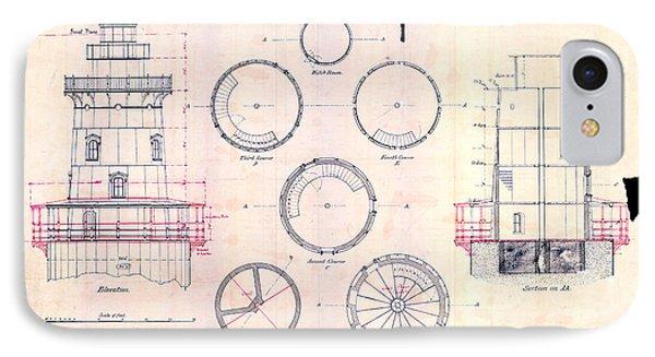 Romer Shoal Light Station Circa 1838 IPhone Case by Jon Neidert