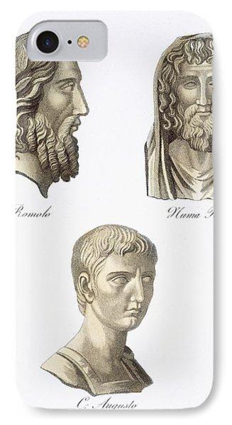 Romulus, Numa Pompilius And Augustus IPhone Case by Jacques Grasset de Saint-Sauveur