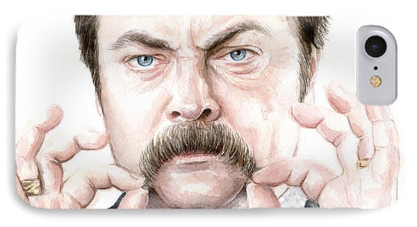 Ron Swanson Mustache Portrait IPhone Case