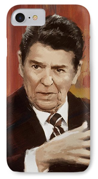 Ronald Reagan Portrait 2 IPhone Case by Corporate Art Task Force