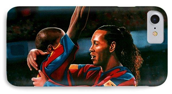 Ronaldinho And Eto'o IPhone 7 Case by Paul Meijering