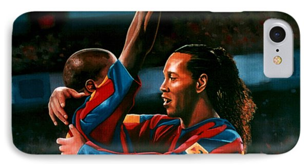 Ronaldinho And Eto'o IPhone 7 Case by Paul Meijering