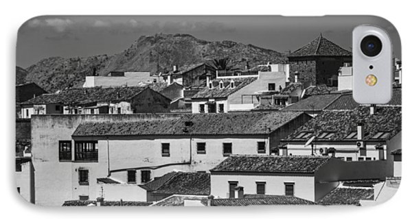 Roofs Of Ronda. Andalusia. Black And White IPhone Case by Jenny Rainbow