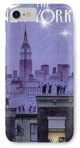 Rooftop Revelers Celebrate New Year's Eve IPhone Case by Harry Bliss