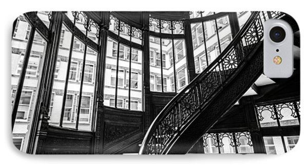 Rookery Building Winding Staircase And Windows - Black And White IPhone Case