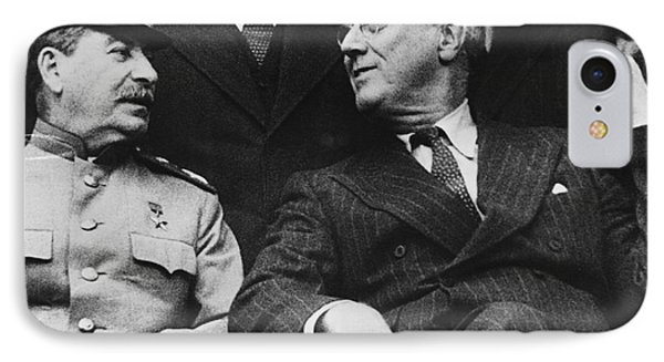 Roosevelt And Stalin IPhone Case by Underwood Archives