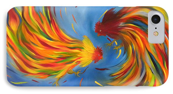 IPhone Case featuring the painting Rooster Fight by Fanny Diaz