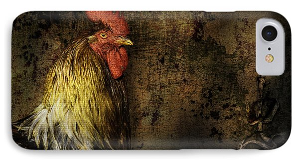 IPhone Case featuring the mixed media Rooster With Brush Calligraphy Loyalty by Peter v Quenter