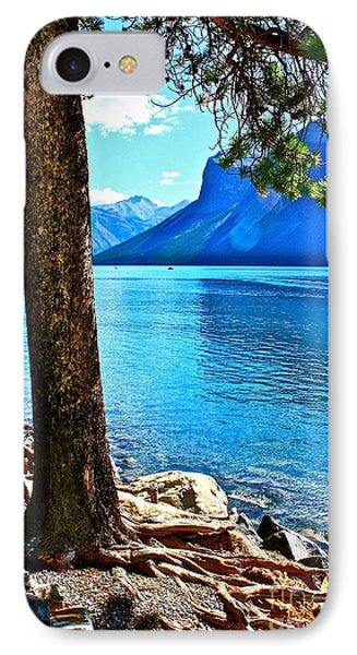 Rooted In Lake Minnewanka IPhone Case by Linda Bianic