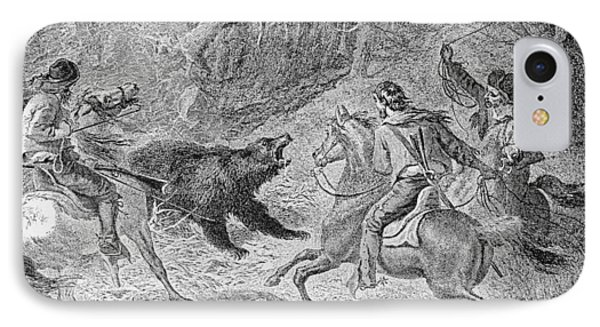 Roping A Grizzly, Illustration From Harpers Weekly, 1874, From The Pageant Of America, Vol.3 IPhone Case by Felix Octavius Carr Darley