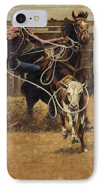 Rodeo Roping Young Steer IPhone Case by Don  Langeneckert