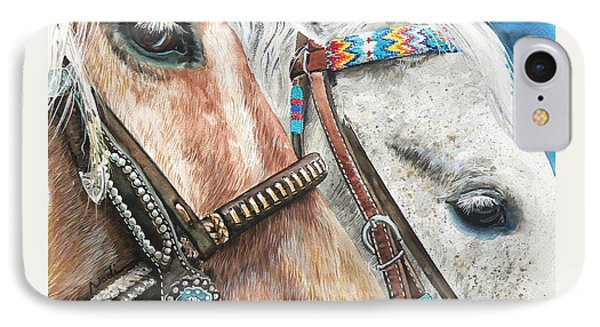 Roping Horses Phone Case by Nadi Spencer