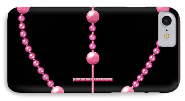 Rosary With Pink And Purple Beads Phone Case by Rose Santuci-Sofranko