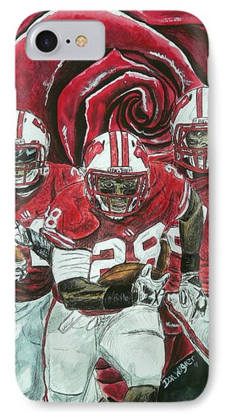IPhone Case featuring the painting Rose Bowl Badgers by Dan Wagner