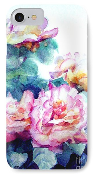 IPhone Case featuring the painting Pink Rose Bush by Greta Corens