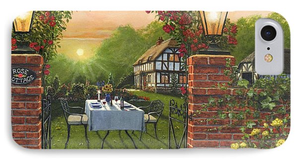 Rose Cottage - Dinner For Two Phone Case by Richard Harpum