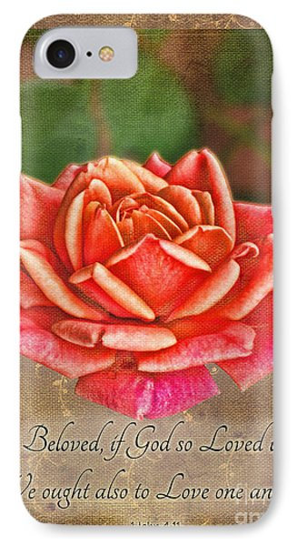 Rose Greeting Card With Verse Phone Case by Debbie Portwood