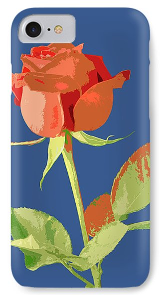 Rose On Blue Phone Case by Mauro Celotti